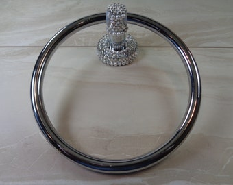 Towel holder hand decorated with stunning authentic Swarovski crystals and pearls.