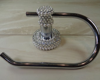 Toilet roll holder hand decorated with stunning authentic Swarovski crystals and pearls.