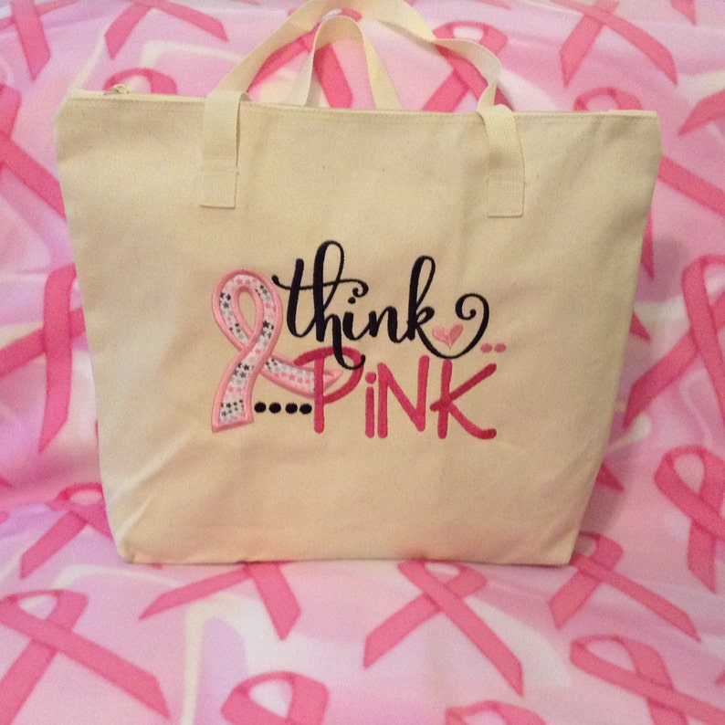 Think Pink Zippered Applique Ribbon Tote; breast cancer awareness; pink and black embroidered design; canvas tote; Free Domestic Shipping