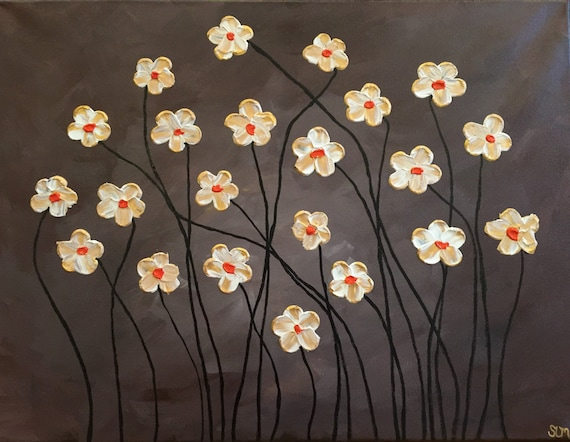 Custom Art Abstract Painting White And Gold Flowers Brown Etsy