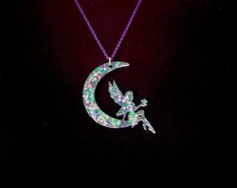 Kawaii, Fairy kei Big Angel in the moon neckless. Resin, Hars, Epoxy. Adjustable neckless