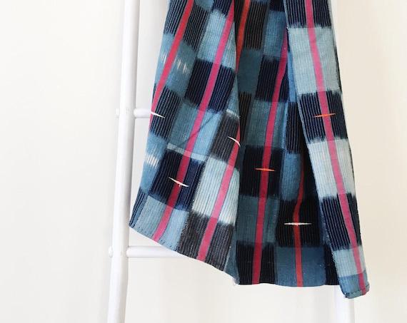 Stripe & Check Throw With Embroidery