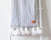 Gray White Striped Pom Pom Blanket - Handwoven - Cotton - Moroccan - Throw
