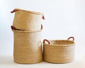 Tall Hamper Basket with Brown Leather Handles - Solid Natural Color - for Laundry, Blankets, Toys or Trees - Handwoven Bolga from Ghana