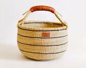 Natural Bolga Market Basket With Black Stripes - Handwoven in Ghana - Brown Leather Handle - Storage Basket