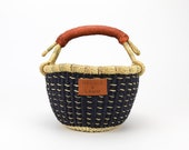 Mini Navy Bolga Basket With Natural Dashes - Handwoven in Ghana - Brown Leather Handle - Storage Market Basket 9 quot