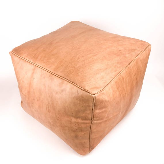 Large Square Leather Moroccan Pouf - Piping on Seams - Medium Brown