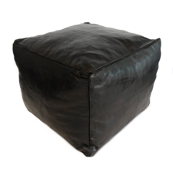 Large Square Leather Moroccan Pouf - Piping on Seams - Black