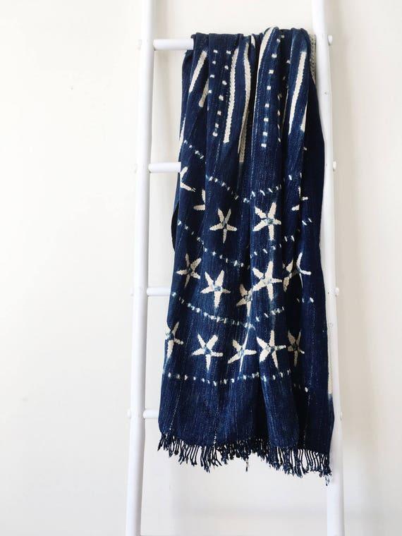 Star & Diamond Pattern Indigo Throw