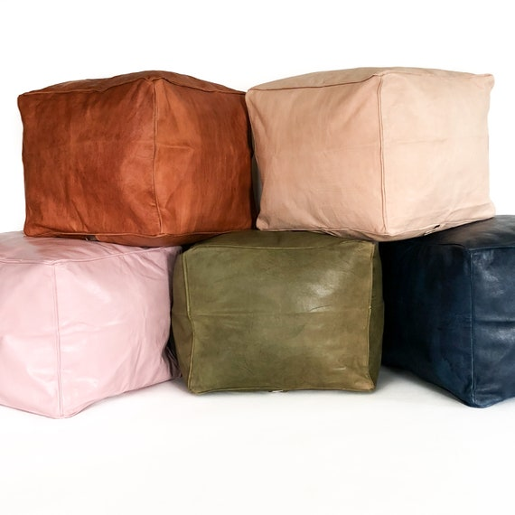 Small Leather Pouf