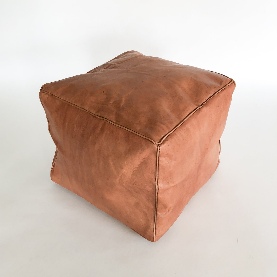 Small Square Leather Moroccan Pouf - Piping on Seams - Kids