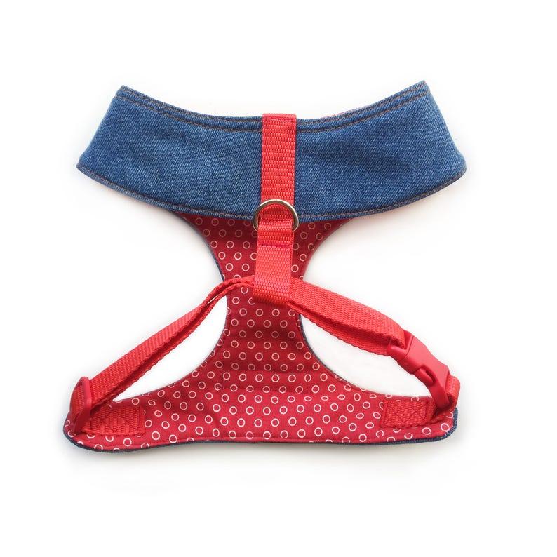 Girl Gang Sequin Heart Denim Dog Harness