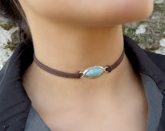 Choker Necklace, Suede Choker Necklace, Bohemian Turquoise Necklace, Native American Jewelry, Minimalist Leather Choker, Boho Jewelry