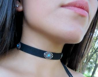 Choker Necklace, Suede Choker Necklace, Bohemian Choker, Fashion Trendy Jewelry, Suede Choker, Black Turquoise Choker, Christmas Gift