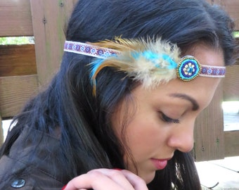 Feather Headband, Bohemian Feather Headband, Hippie Headband, Hair Jewelry, Boho Headpiece, Indian, Native American Style Hair Accessories