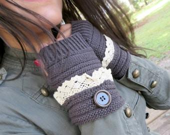 Knitted Fingerless Gloves, Brown Winter Gloves, Wrist Warmers, Mittens, Gloves, Winter Knitted Warm Gloves, Christmas Gift For Her Under 15