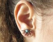 Silver Stud Earring, Minimalist Spikes Earrings, Turquoise Geometric Jacket Earring, Boho Earring, Fashion Ear Jacket, Women Trendy Jewelry