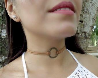 Brown Suede Choker, Circle Ring Choker, Thin Choker, O Ring Delicate Choker, Dainty Choker,Feminine Choker, Delicate Choker, Boho Jewelry