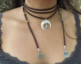 Boho Necklace Yoga Jewelry Just Breathe Necklace Leather Choker Choker Necklace Yoga Necklace Double layer Choker Choker Necklace