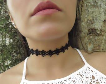 Black Choker, Choker Necklace, Suede Leather Choker, Patterned Flower Choker, Bohemian Choker, Black Choker, Lace Leather, Trendy Jewelry