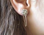 Silver Chain Earrings, Flower Ear Jacket Earring, Minimalist Stud Earring, Jacket Earrings, Silver Stud Earring, Ear Studs, Women Jewelry