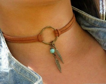 Choker Necklace, Suede Choker Necklace, Bohemian Feather Necklace, Native American Style Jewelry, Ring Choker, Leather Choker, Boho Jewelry