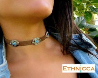 Choker Necklace, Suede Choker Necklace, Bohemian Choker, Fashion Trendy Jewelry, Suede Choker, Brown Turquoise Choker, Christmas Gift