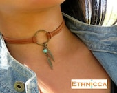 Choker Necklace, Suede Choker Necklace, Bohemian Feather Necklace, Native American Jewelry, Ring Choker, Leather Choker, Boho Jewelry