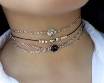 Bohemian layer Choker Necklace, Silver Layered Choker, Choker Necklace, Delicate Boho Necklace, Triple Choker, Dainty Thin Choker Set Of 3