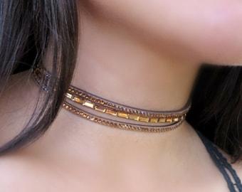 Layered Choker, Brown Choker, Choker Necklace, Suede Leather Choker, Fancy Delicate Choker, Triple Choker, Fashion Choker, Trendy Jewelry