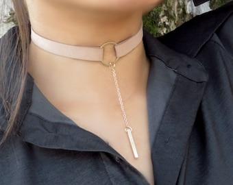 O Ring Choker, Choker Necklace, Suede Choker Necklace, Bohemian Tan Choker Necklace, Women Fashion Jewelry, Leather Choker, Boho Jewelry