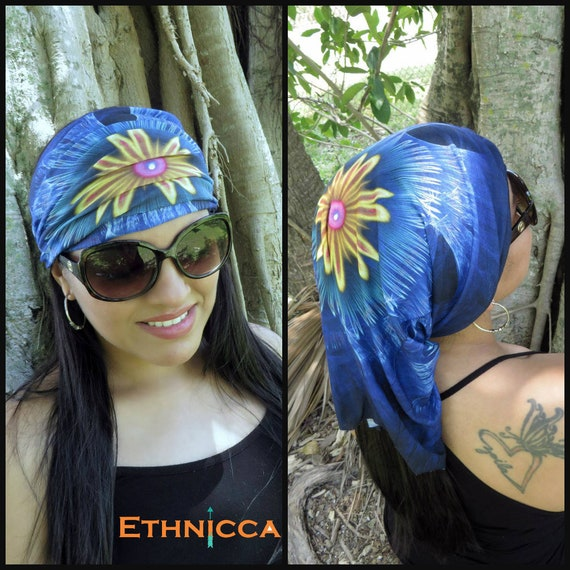 Blue Wide Headband, Running Headband, Yoga Headband, Fitness Headband, Women Hippie Headband, Bohemian Turban,Head Wrap ,Boho Wide Headband