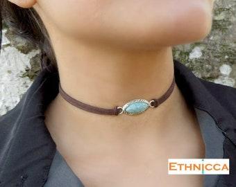 Choker Necklace, Suede Choker Necklace, Bohemian Turquoise Necklace, Native American Jewelry, Minimalist Leather Choker, Boho Jewelry
