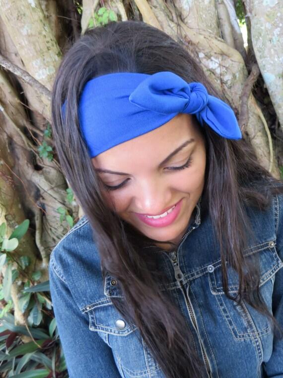 Top Knot Headband Yoga Headband Blue Headband Boho  b5ea2c083ce