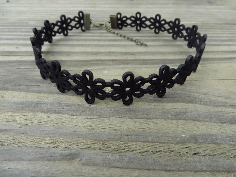 Bohemian Choker Black Choker Choker Necklace Lace Leather Black Choker Patterned Flower Choker Suede Leather Choker Trendy Jewelry