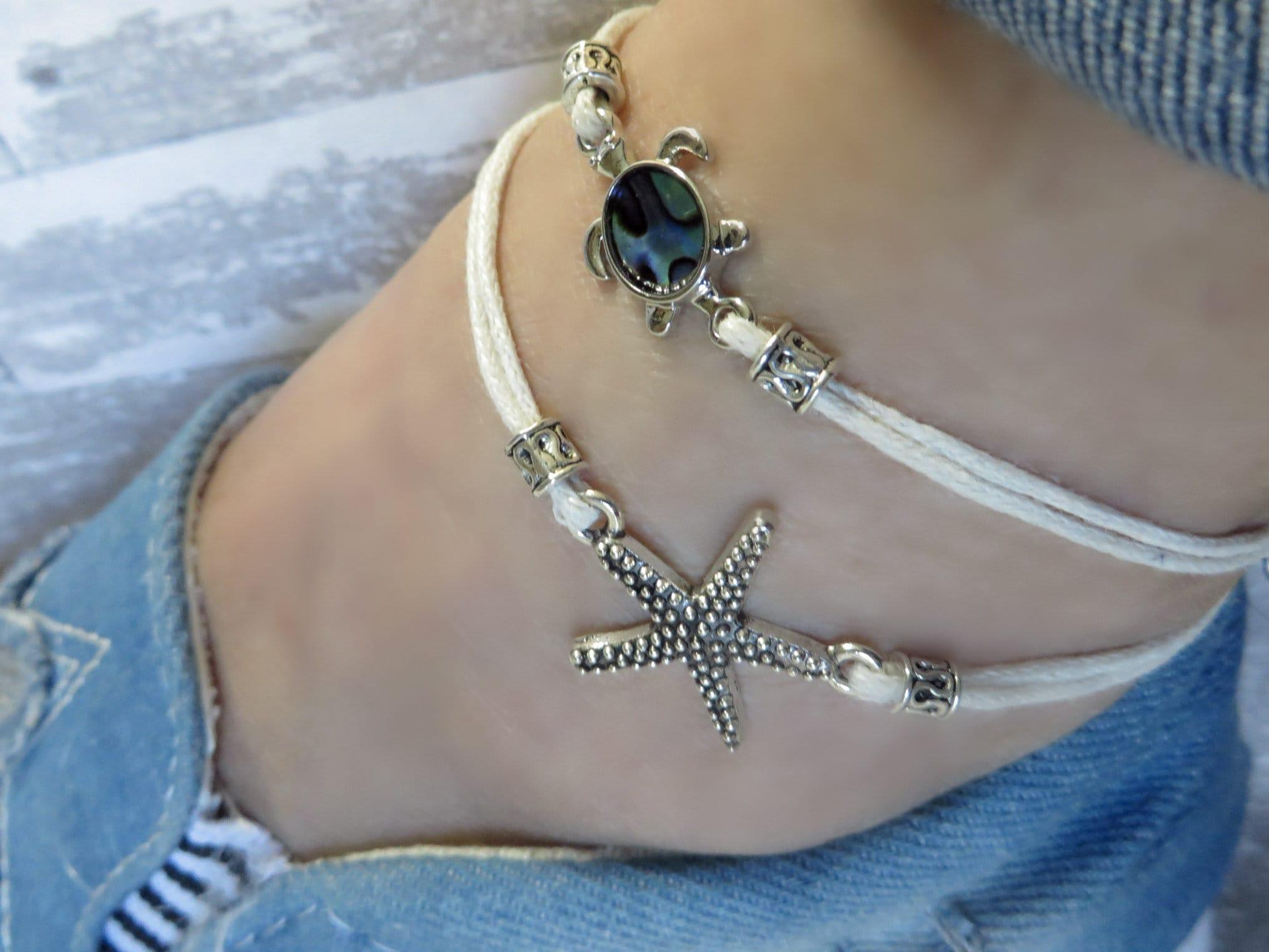Boho Perles Poignet Bracelets Sea Turtle Bracelet Plage Sandale cheville Bijoux