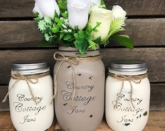 3 Piece Distressed Mason Jar Standard Kitchen Set With Canisters