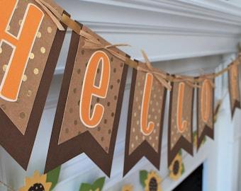 Fall Banner - Thanksgiving Banner - Hello Fall Banner - Fall Decoration - Thanksgiving Decoration - Fall Garland - Hello Fall