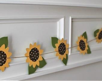 Sunflower Garland - Sunflower Bunting - Fall Banner - Fall Garland - Fall Wedding - Thanksgiving Decor - Fall Decor - Sunflower - Hello Fall