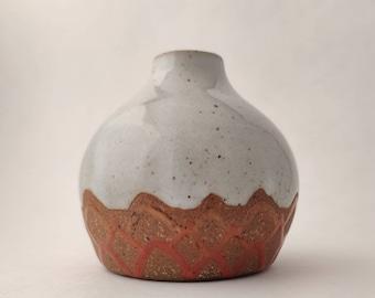 Ceramic Bud Vase - White Tiny Pottery Bottle