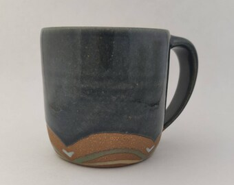 Blue Ceramic Mug - Wheel thrown Handpainted Cup