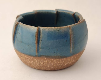 Speckled Blue Small Folded Bowl - Ceramic Personal Bowl