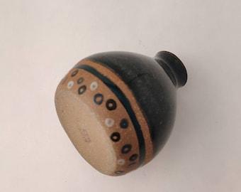 Ceramic Bud Vase - Celadon Dark Blue Tiny Pottery Bottle
