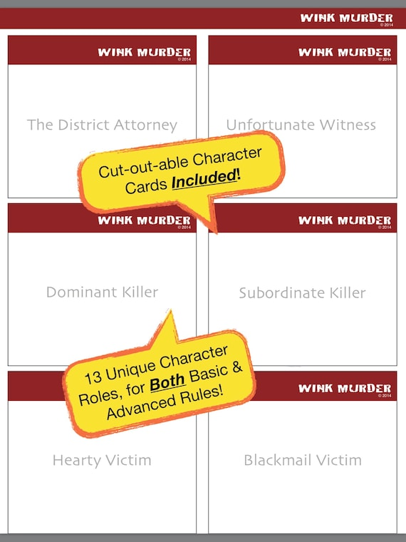 Wink Murder Game Rules Printer Friendly PDF Sleepover Slumber Party