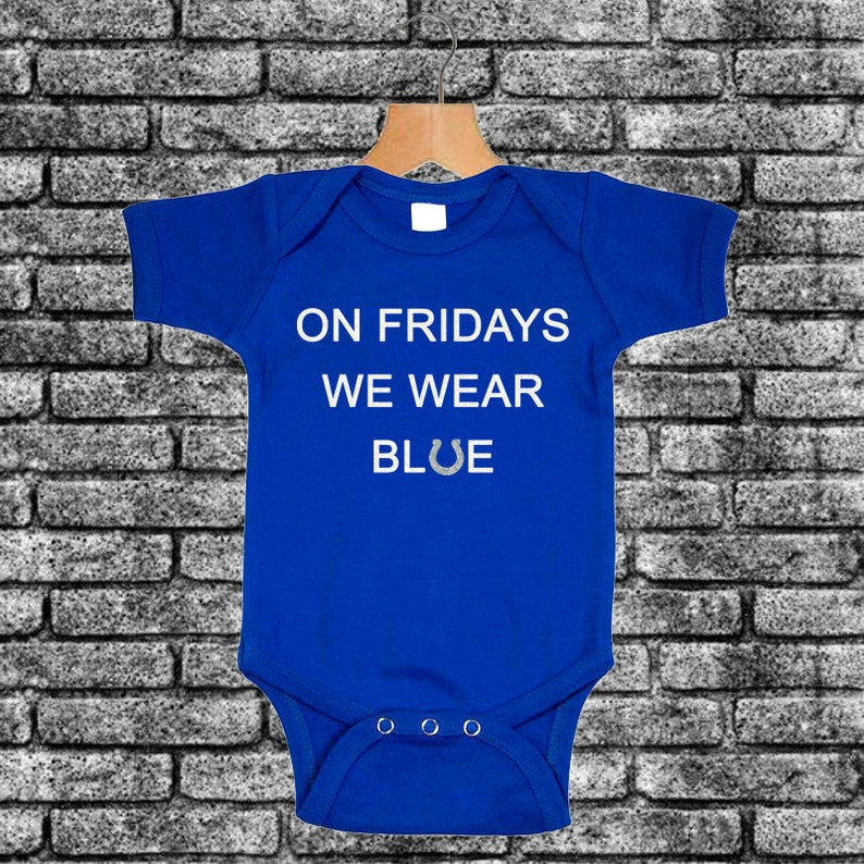d91660db1570 On Fridays We Wear Blue Glitter Football Romper Indianapolis