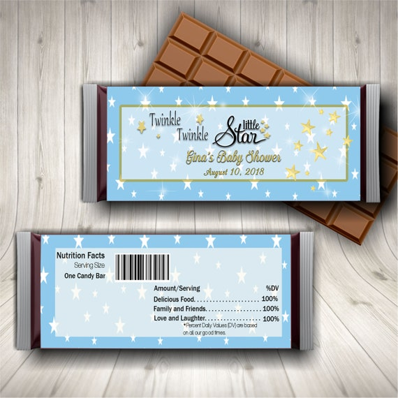 12 Gender Reveal Baby Shower Twinkle Little Star Personalized Candy Wrappers