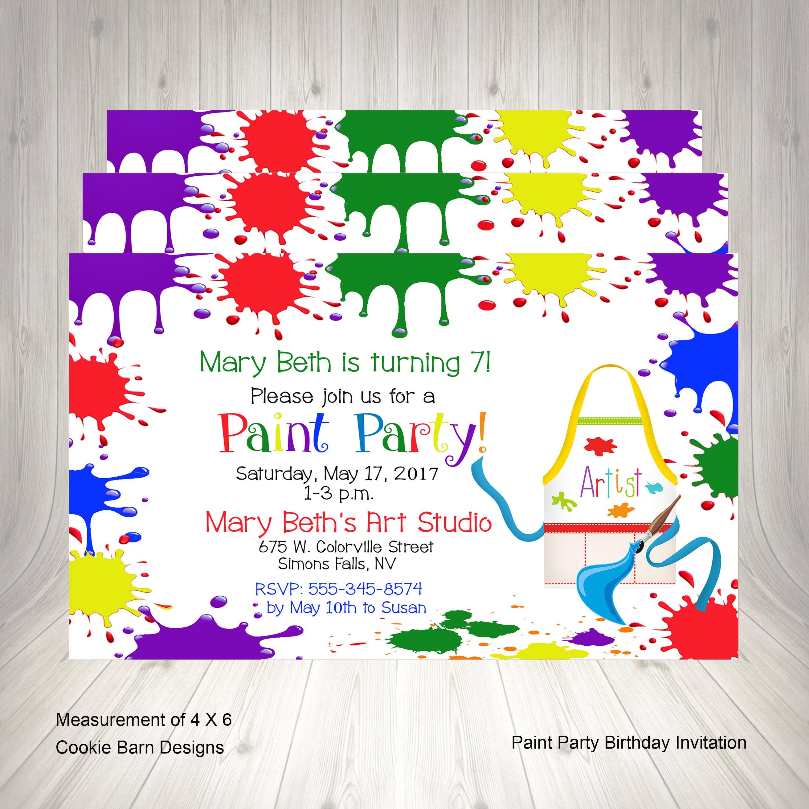 Art Paint Party Invitation Birthday Invitation Printable