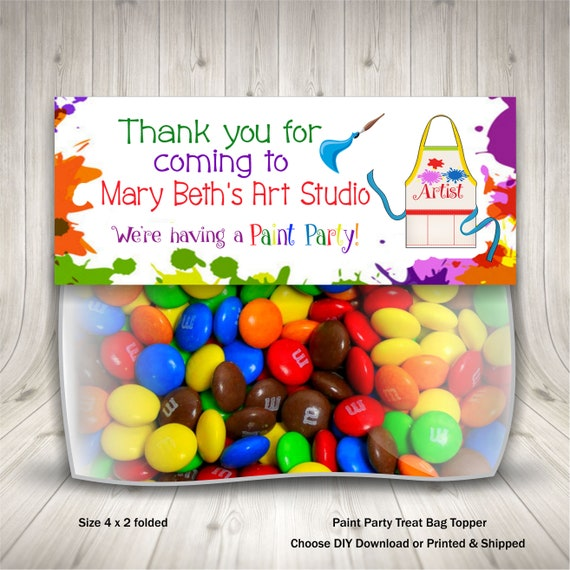 Paint Birthday Party Artsy Party Treat Bag Topper Paint