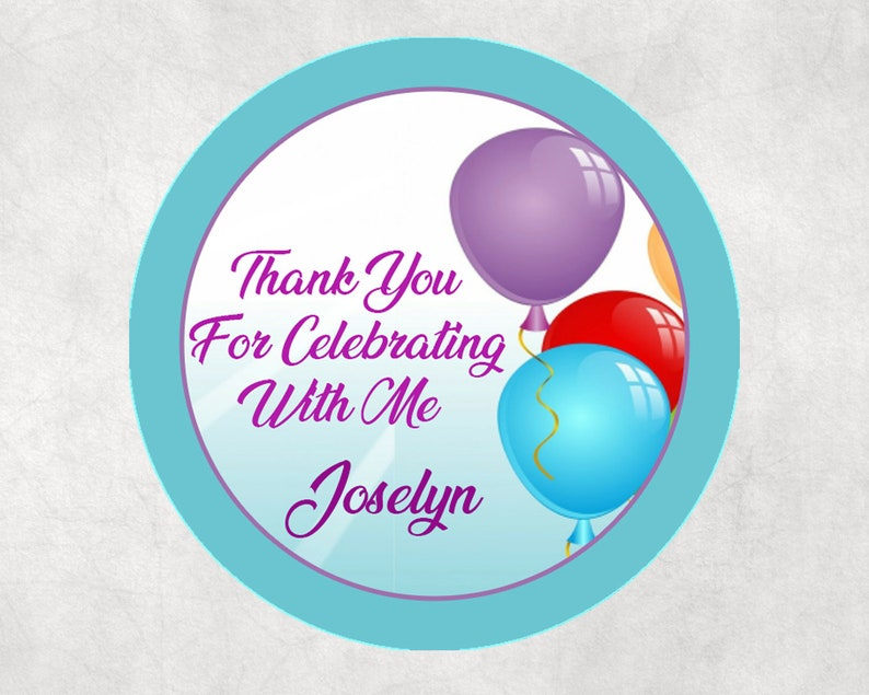 12 Personalized Happy Birthday Party Favor Gift Tag Stickers