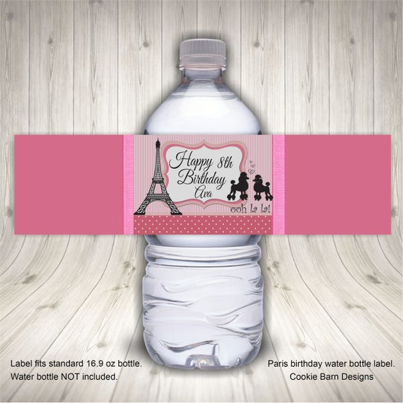 Paris Birthday Party Favors Water Bottle Label Paris Theme Etsy